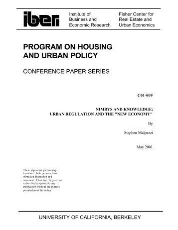 PROGRAM ON HOUSING AND URBAN POLICY - Berkeley ...