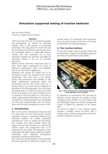 Simulation Supported Testing Of Traction batteries