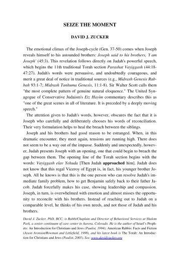 SEIZE THE MOMENT - Jewish Bible Quarterly