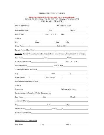 Preregistration Data Form - IU Health