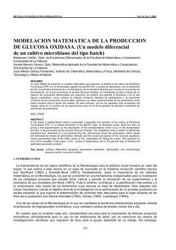 modelacion matematica de la produccion de glucosa oxidasa