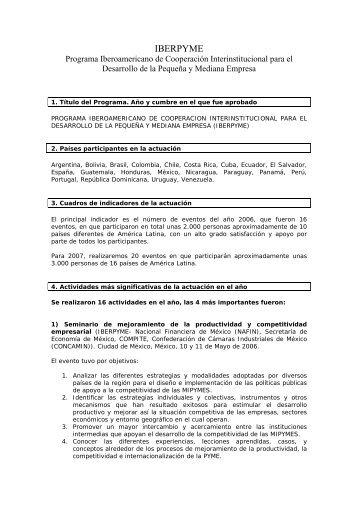 informe anual iberpyme 2006 (pdf) - Segib