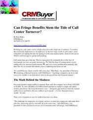Can Fringe Benefits Stem the Tide of Call Center ... - Pam Baker