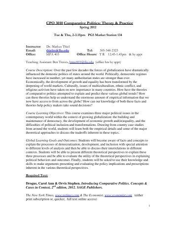 CPO 3010 Comparative Politics: Theory & Practice - Florida ...