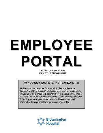 Employee Portal How to View Your Pay Stub from Home - IU Health