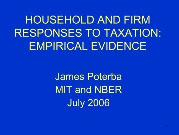 Tax Policy and the Behavior of Households and Firms