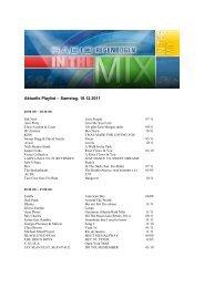 Aktuelle Playlist – Samstag, 10.12.2011 - Radio Regenbogen