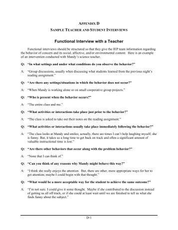 Appendix D: Sample Teacher and Student Interviews