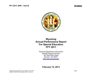 APR (FFY 2011, February 15, 2013) - Wyoming Department of ...
