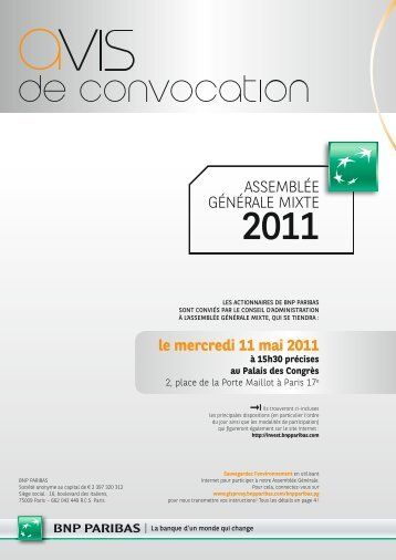Avis de convocation - BNP Paribas