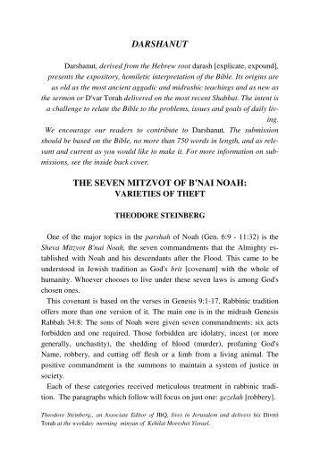 darshanut the seven mitzvot of b'nai noah - Jewish Bible Quarterly