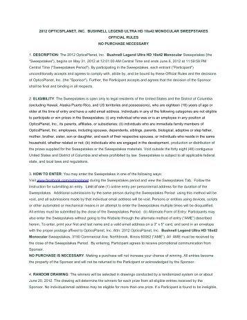 2012 OPTICSPLANET, INC. BUSHNELL ... - OpticsPlanet.com