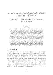 Incentives versus sorting in tournaments - Universiteit van Amsterdam