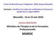 Marseille : 14 et 15 Juin 2010 Fatima BOUHAFA Ministère de l ... - CMI