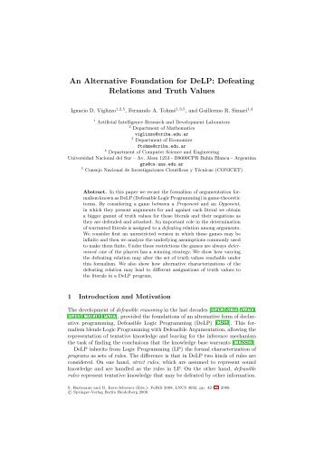 An Alternative Foundation for DeLP - Universidad Nacional del Sur