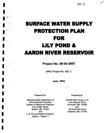 surface water supply protection plan for lily pond and aaron river