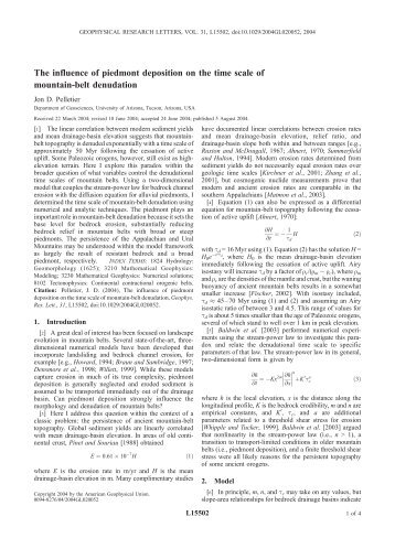 Pelletier, J.D., The influence of piedmont deposition on time scales ...