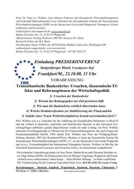 Einladung PRESSEKONFERENZ Frankfurt/M., 22.10.08, 11 Uhr - EIIW