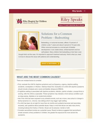 Solutions for a Common Problem—Bedwetting - IU Health