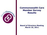Commonwealth Care Member Survey Results