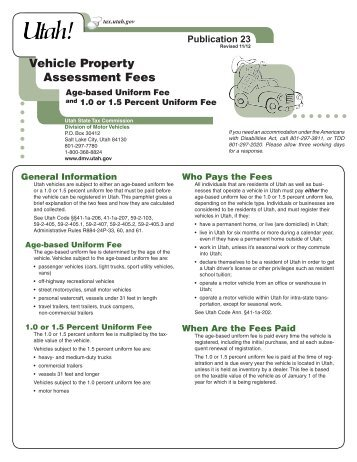 Pub-23, Utah Vehicle Property Assessment Fees - Utah State Tax ...
