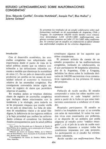estudio latinoamericano sobre malformaciones ... - PAHO/WHO
