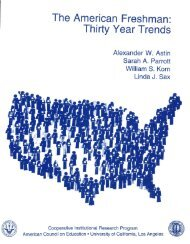 The American Freshman: Thirty Year Trends. - Higher Education ...