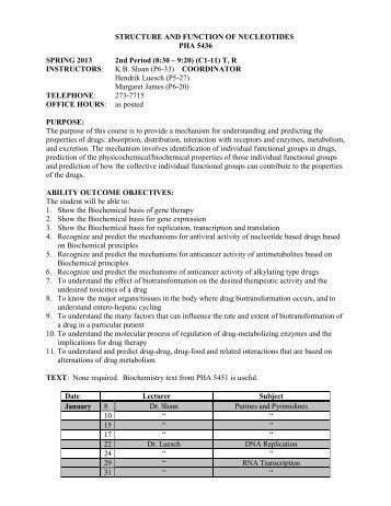 PHA 5436 Syllabus.pdf - College of Pharmacy - University of Florida