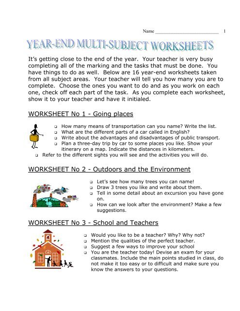 Year End Multi-Subject Worksheets