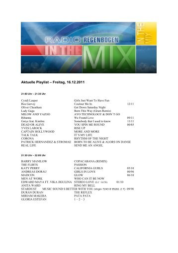 Aktuelle Playlist – Freitag, 16.12.2011