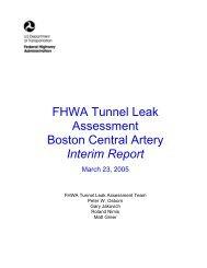 FHWA Tunnel Leak Assessment, Boston Central Artery, Interim Report