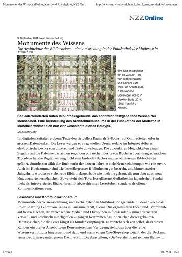 Monumente des Wissens (Kultur, Kunst und ... - SandraHofmeister