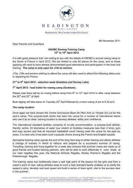 Invitation letter for Rowing Camp 2012 - headington school