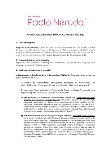 INFORME ANUAL DEL PROGRAMA PABLO NERUDA. AÑO 2012