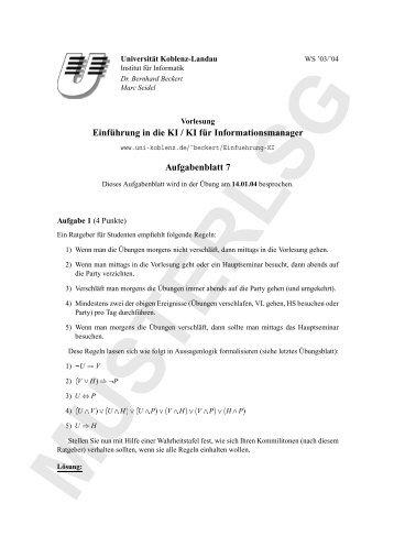 Einführung in die KI / KI für Informationsmanager Aufgabenblatt 7