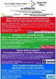 e-Newsletter for September 2011 - Foreign Policy Centre