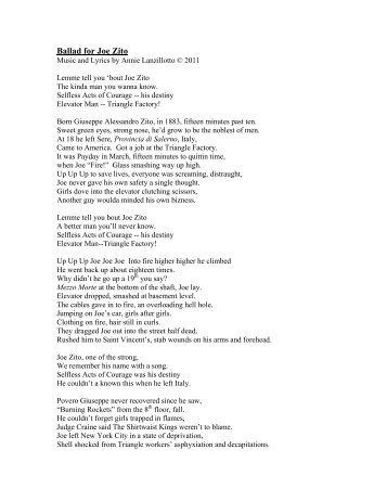 Ballad for Joe Zito - Remember the Triangle Fire Coalition