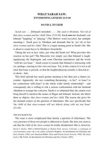 WHAT SARAH SAW: - Jewish Bible Quarterly