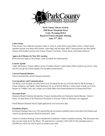 June 2011 Board Meeting Minutes - Park County Library System