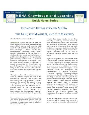 Economic Integration in MENA