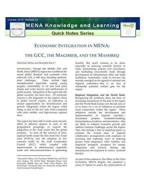 Economic Integration in MENA