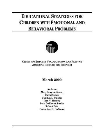 educational strategies for children with emotional and behavioral ...