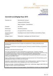 Rapport fra uanmeldt socialfagligt tilsyn den 25. august 2010