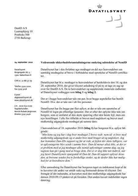 Klik her for at læse Datatilsynets brev af 24. september 2010 til DanID