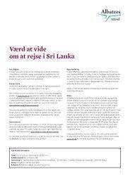 Værd at vide om at rejse i Sri Lanka - Albatros Travel