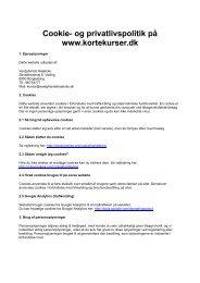 Cookie- og privatlivspolitik på www.kortekurser.dk - Korte kurser 2013