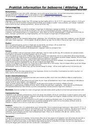Opslaget med praktisk information - Afdeling 7A