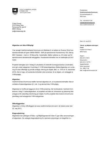 Opførelse af en husstandsvindmølle - Vesthimmerlands Kommune