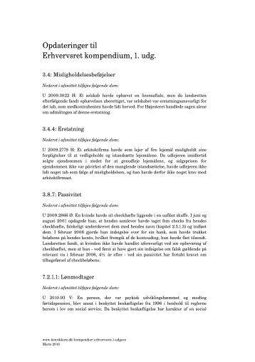 Opdateringer til Erhvervsret kompendium, 1. udg. - Henrik Kure
