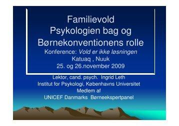 Familievold - Psykologien bag og Børnekonventionens rolle v. lektor ...
